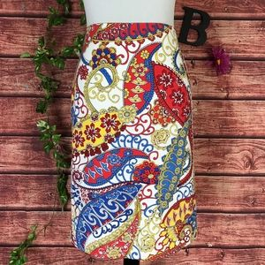 Talbots Skirt 12 Red Blue Yellow Floral Paisley